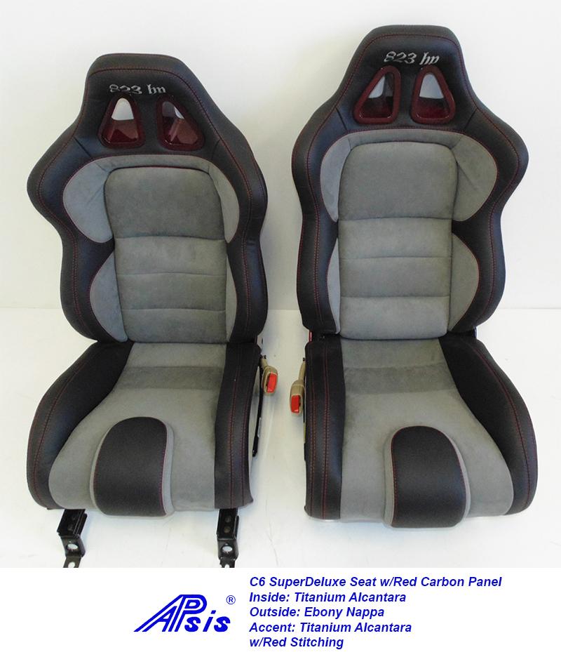 C6 SuperDeluxe Seat-ebony+titanium alcantara w-red carbon panel-pair-2