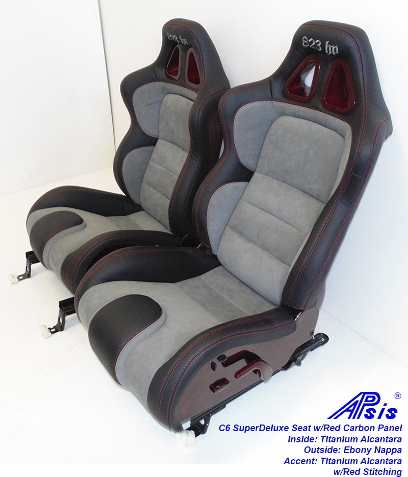 C6 SuperDeluxe Seat-ebony+titanium alcantara w-red carbon panel-pair-3