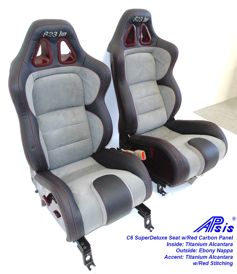 C6 SuperDeluxe Seat-ebony+titanium alcantara w-red carbon panel-pair-4