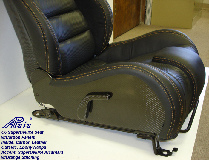 C6 SuperDeluxe Seat w-carbon-EB+CL+AL w-orange stitching-pass-side panel only-1