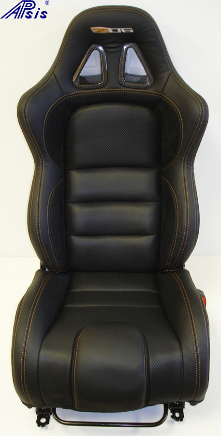 C6 SuperDeluxe Seat w-carbon-EB+CL+AL w-orange stitching-pass-straight view-1