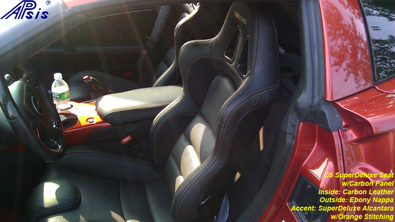 C6 SuperDeluxe Seat w-carbon panel w-carbon leather w-orange stitching for spencer-installed-2