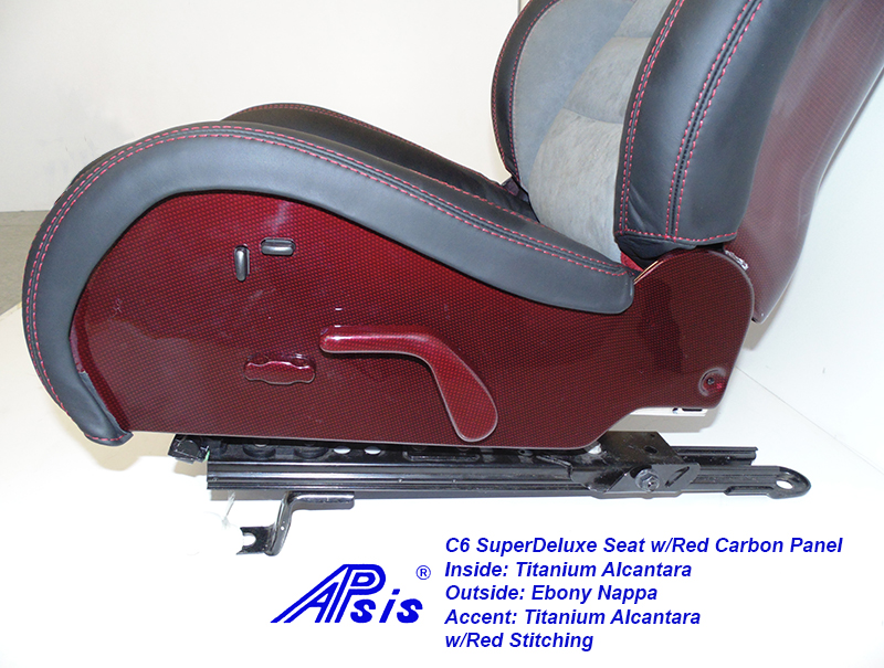 C6 SuperDeluxe Seat=ebony+titanium alcantara w-red carbon panel-lower panel only-1