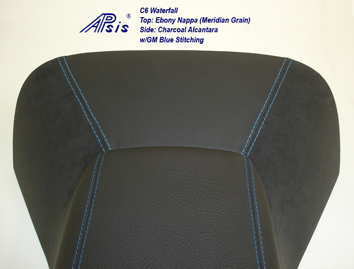 C6 Waterfall+Armrest-ebony w-gm blue stitching-4a close shot w-flash