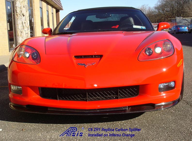 C6 ZR1 CF Splitter installed on inferno orange-2