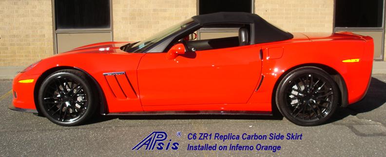 C6 ZR1 Replica CF Side Skirt installed on inferno orange-2