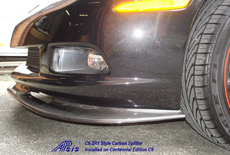 C6 ZR1 Style Splitter-CF-installed on centennial c6-6 close shot