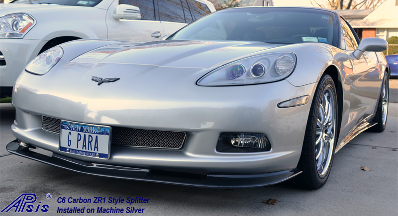 C6 ZR1 Style Splitter-CF-installed on machine silver-1-george
