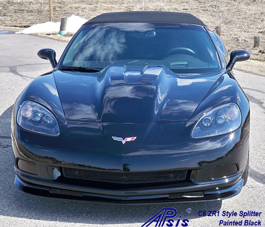 C6 ZR1 Style Splitter & Side Skirt installed on black vert-2