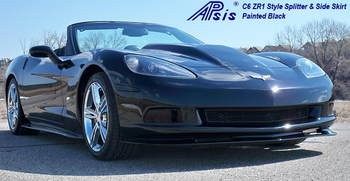 C6 ZR1 Style Splitter & Side Skirt installed on black vert-4