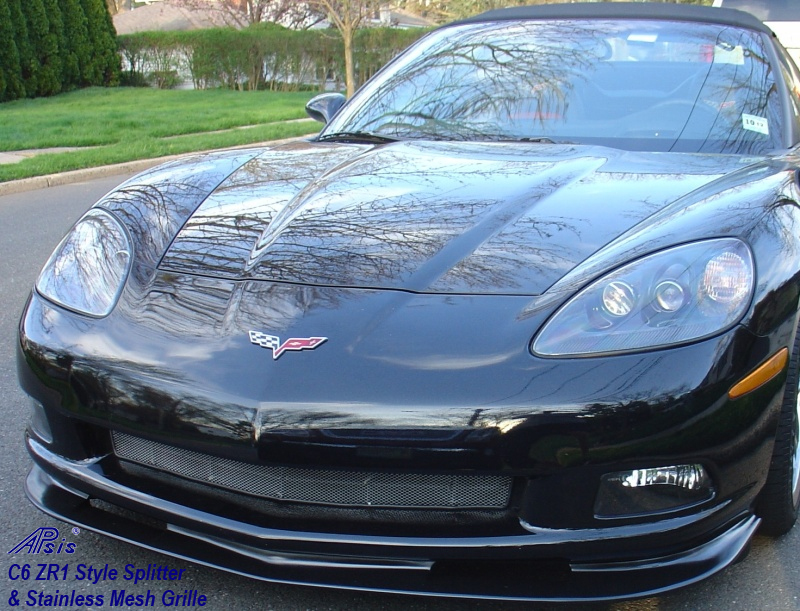 C6 ZR1 Style Splitter installed on black vett from c6am-2