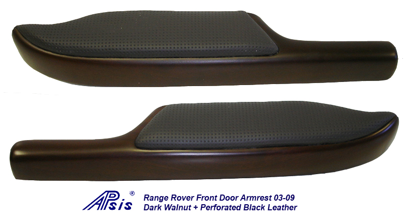 Range Rover Door Armrest-walnut + perf black leather-df-1-pair
