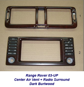 Range Rover-center air vent + radio surround-dark burlwood-1