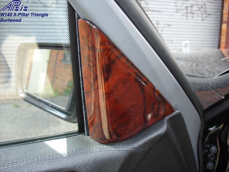 W140 A-Pillar Trangle-installed on beige interior-2