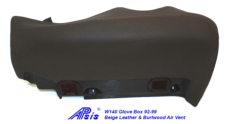W140 Glove Box-beige w-beige stitching w-wood air vent-1