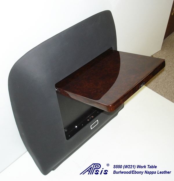 W220 Work Table-ebony nappa-individual-flip down-side view-2