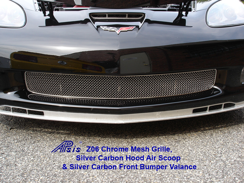 Z06 Mesh Grille 800 w-Silver Carbon Hood Air Scoop & Front Bumper Valance