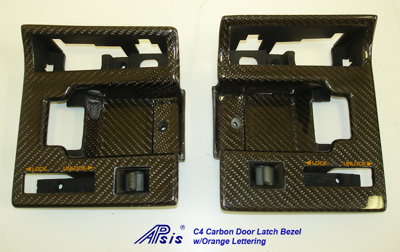 C4 CF Door Latch Bezel w-orange lettering-pair-1