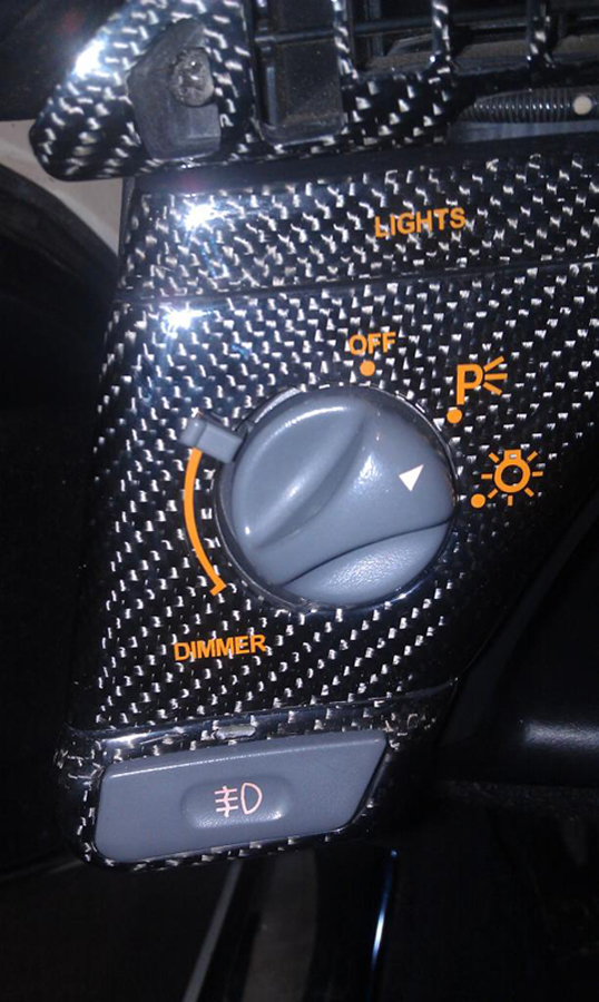 C4 CF Headlight Bezel w-orange letters-installed-1