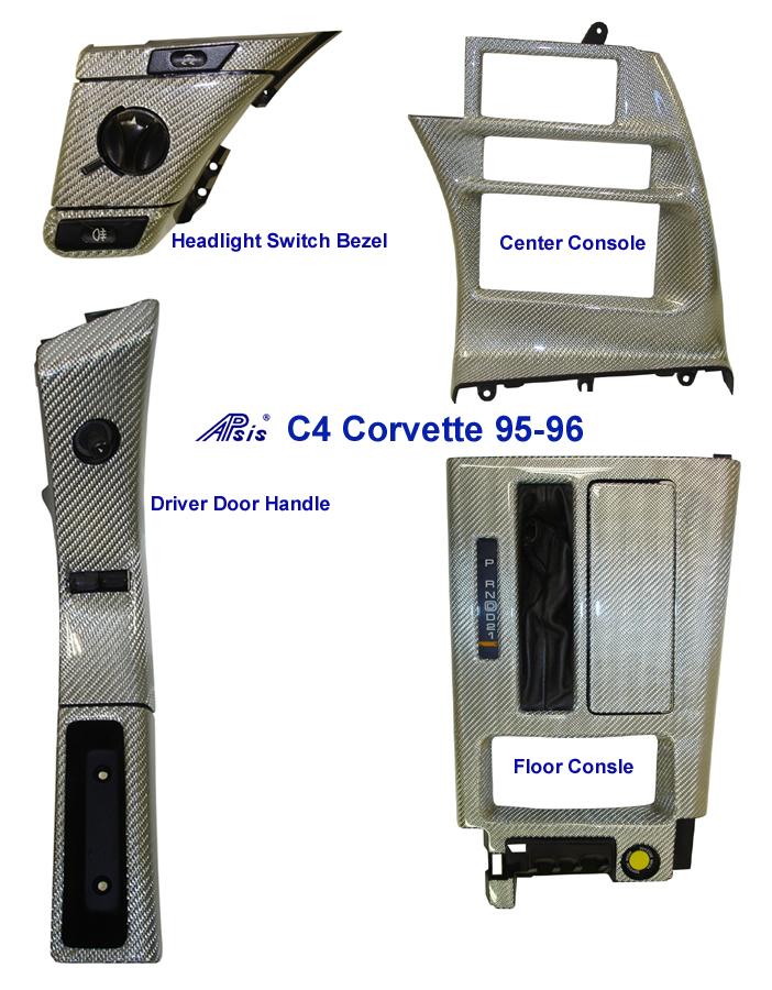 C4 Corvette-Silver CF-DF Power Switch Bezel & Door Handle- Headlight - center console - floor console 700