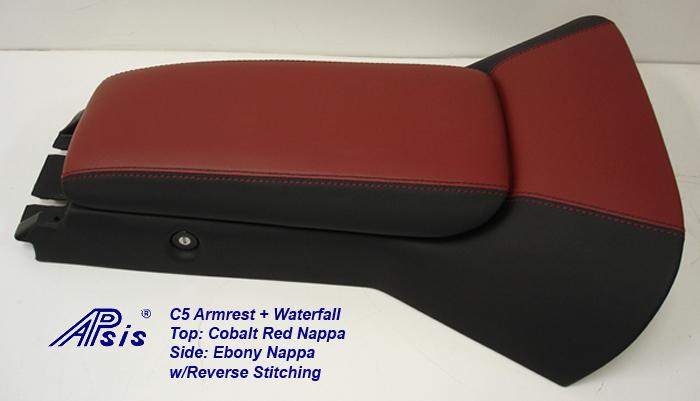 C5 Armrest+Waterfall-cobalt red+ebony w-reverse stitching-1