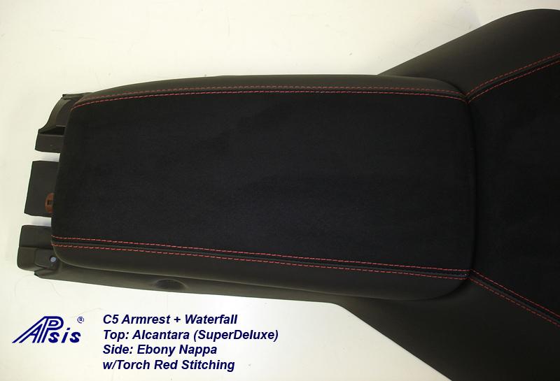 C5 Armrest+Waterfall-ebony + alcantara w-red stitching-clost shot-2