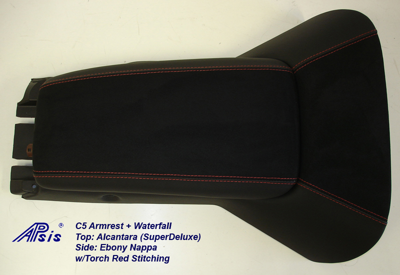 C5 Armrest+Waterfall-ebony + alcantara w-red stitching-full-3