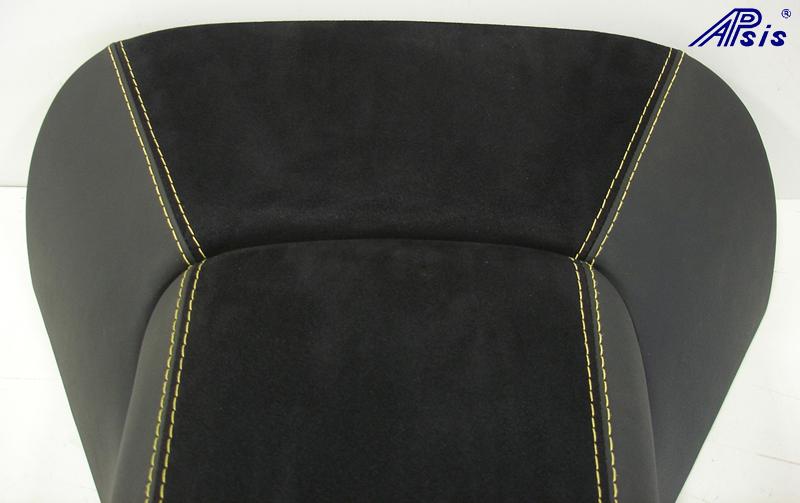 C5 Armrest+Waterfall-ebony + alcantara w-yellow stitching-close shot-1