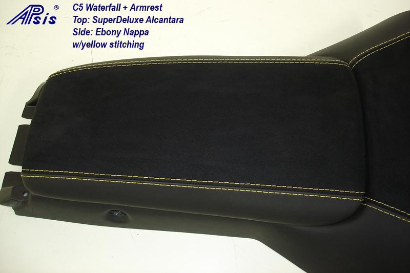 C5 Armrest+Waterfall-ebony + alcantara w-yellow stitching-close shot-2