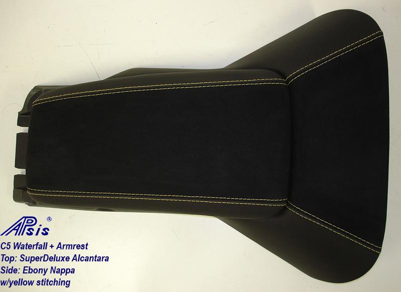 C5 Armrest+Waterfall-ebony + alcantara w-yellow stitching-top-1