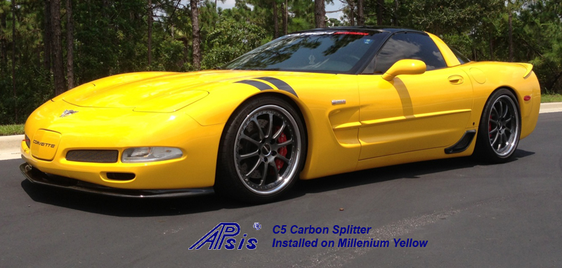 C5 CF Splitter installed on yellow car-posted by donsLS1-1