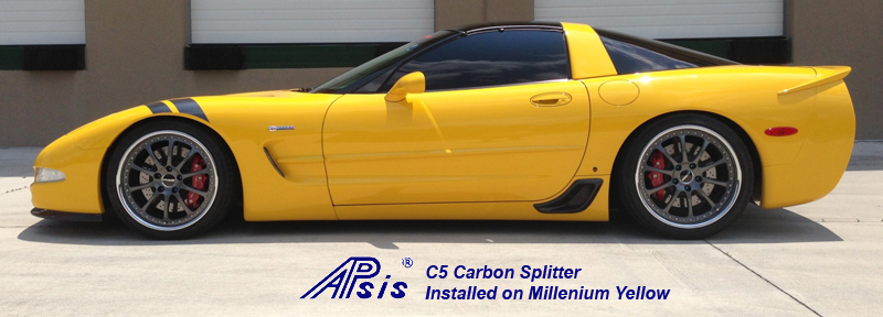C5 CF Splitter installed on yellow car-posted by donsLS1-2