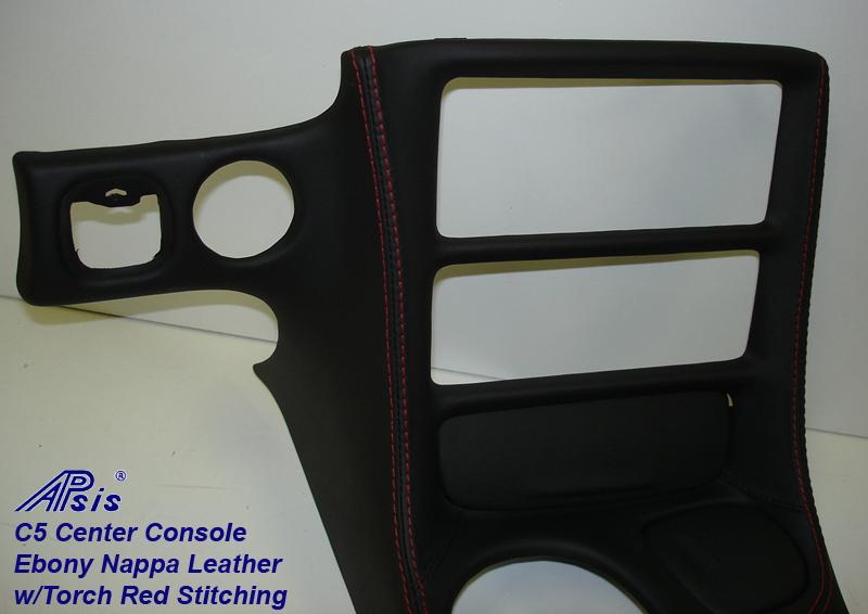 C5 Center Console ebony w-red stitching-close shot-5