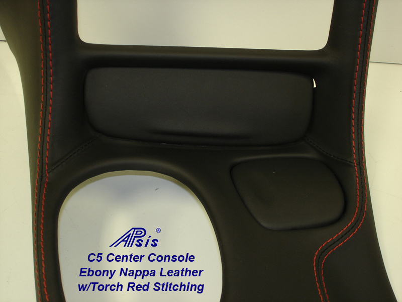 C5 Center Console ebony w-red stitching-close shot-6