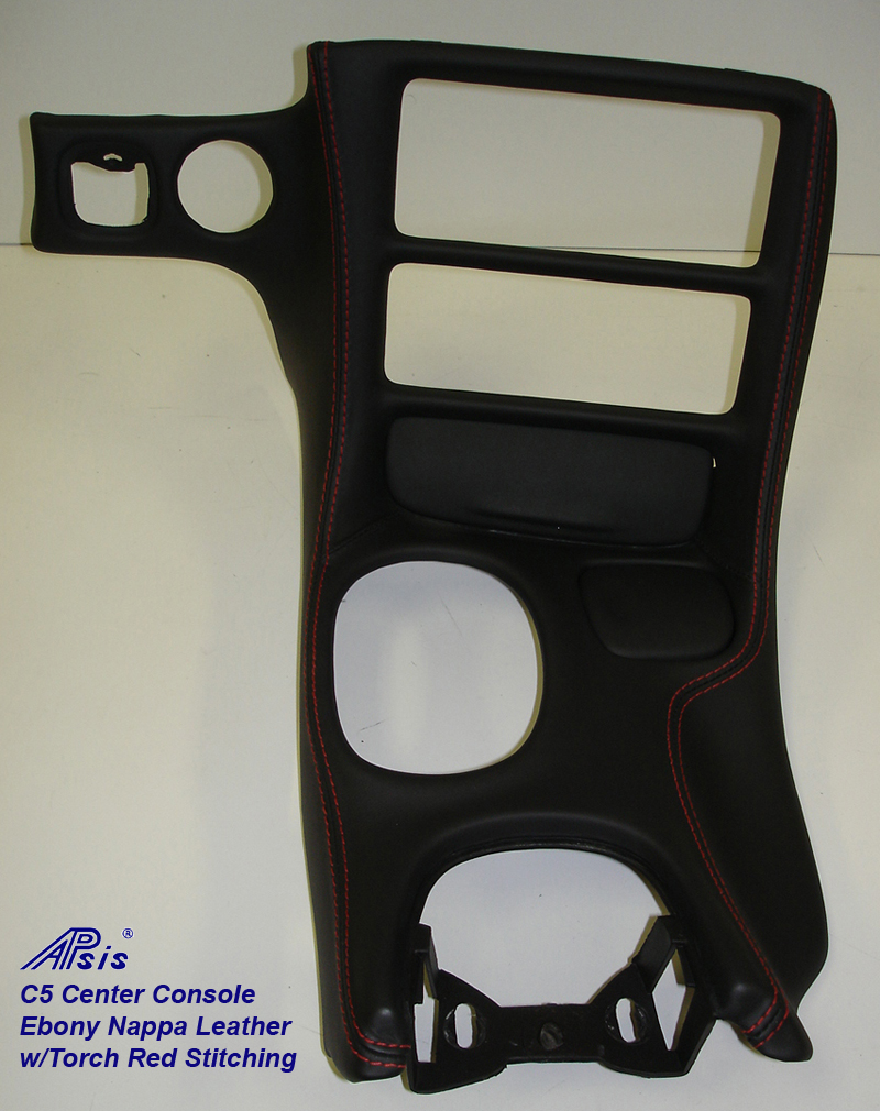 C5 Center Console ebony w-red stitching-full view-1