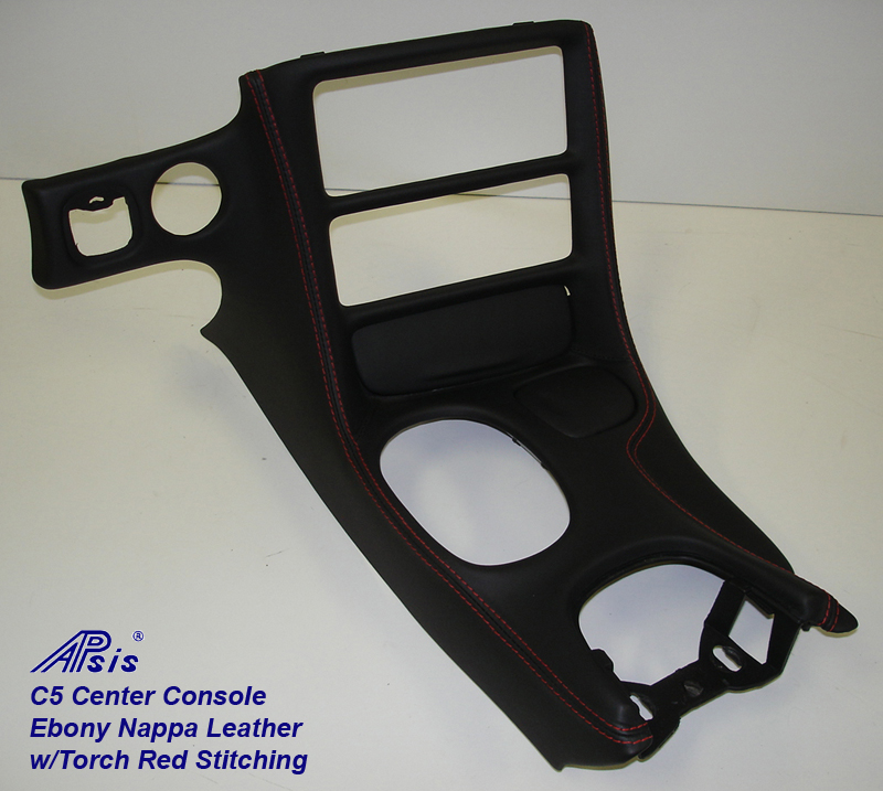 C5 Center Console ebony w-red stitching-full view-2