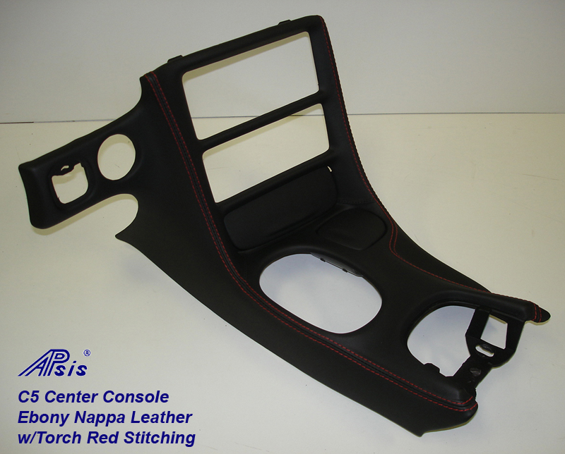 C5 Center Console ebony w-red stitching-full view-3