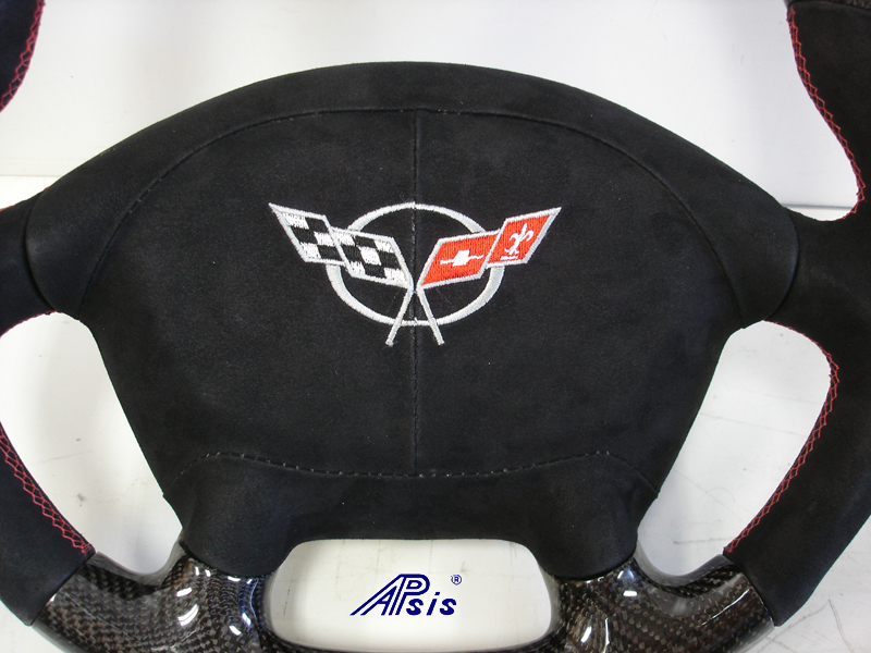 C5 D-Type SW-CF+Alcan w-red stitching w-alcan airbag cover w-split logo-1 close shot