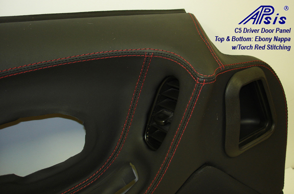 C5 Door Panel-EB+EB w-red stitching-DF-close shot-2-show stitching