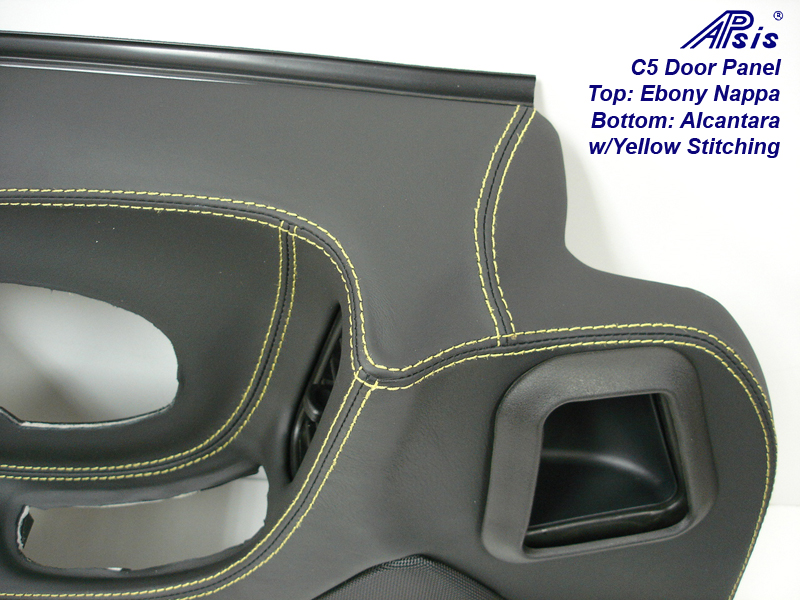 C5 Door Panel-ebony+alcantara w-yellow stitching-DF-close shot-1