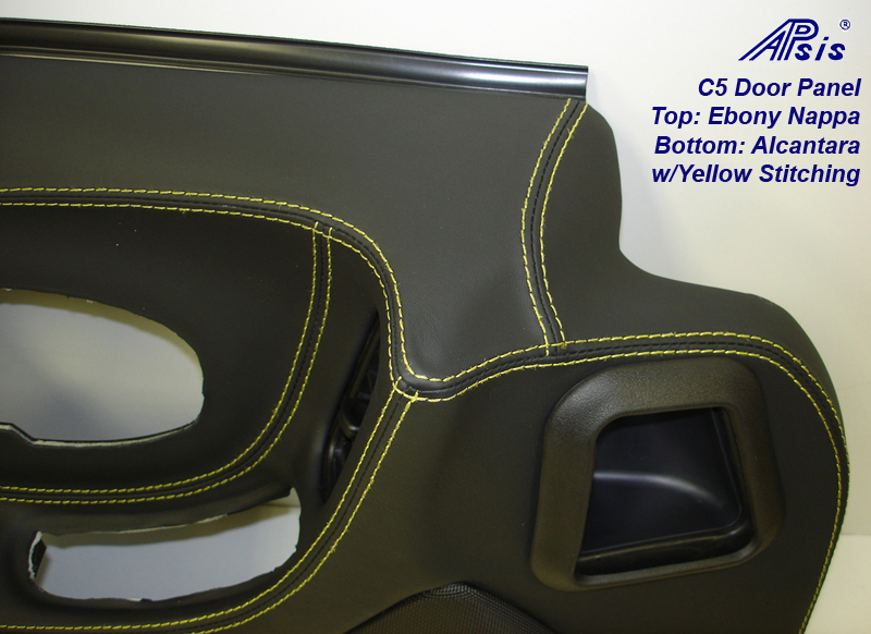 C5 Door Panel-ebony+alcantara w-yellow stitching-DF-close shot-2