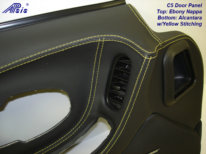C5 Door Panel-ebony+alcantara w-yellow stitching-DF-close shot-3