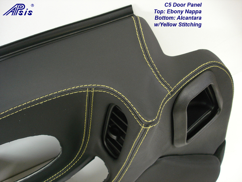 C5 Door Panel-ebony+alcantara w-yellow stitching-DF-close shot-4