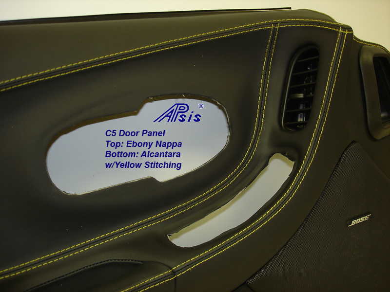 C5 Door Panel-ebony+alcantara w-yellow stitching-DF-close shot-5