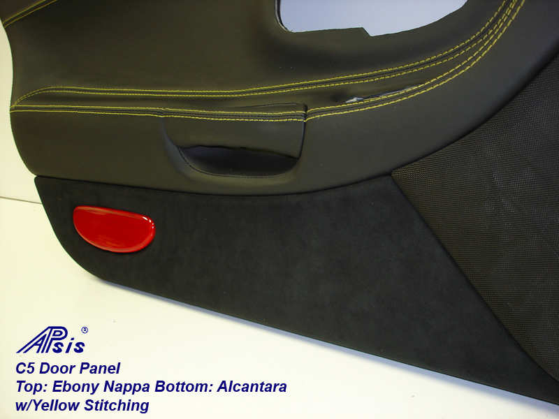 C5 Door Panel-ebony+alcantara w-yellow stitching-lower only-2