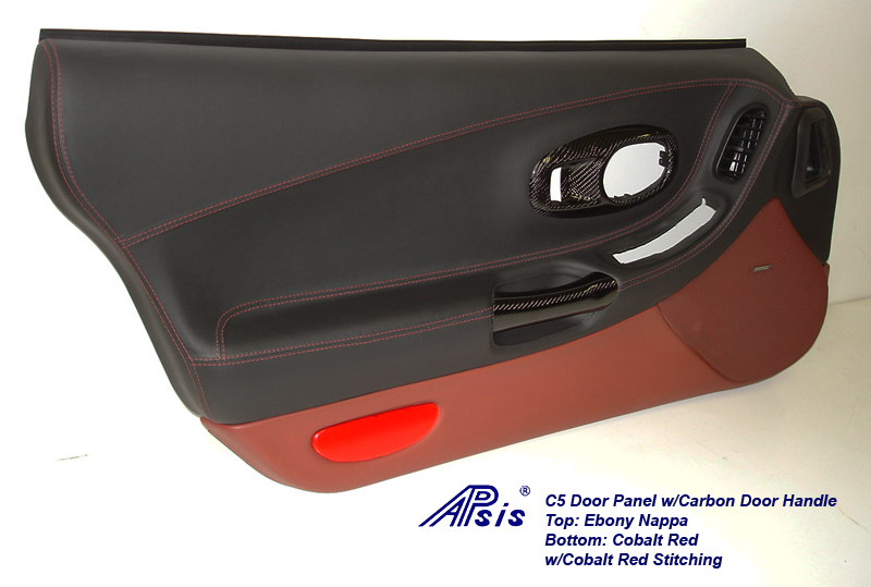 C5 Door Panel-ebony+cobalt red w-carbon door handle-driver-2