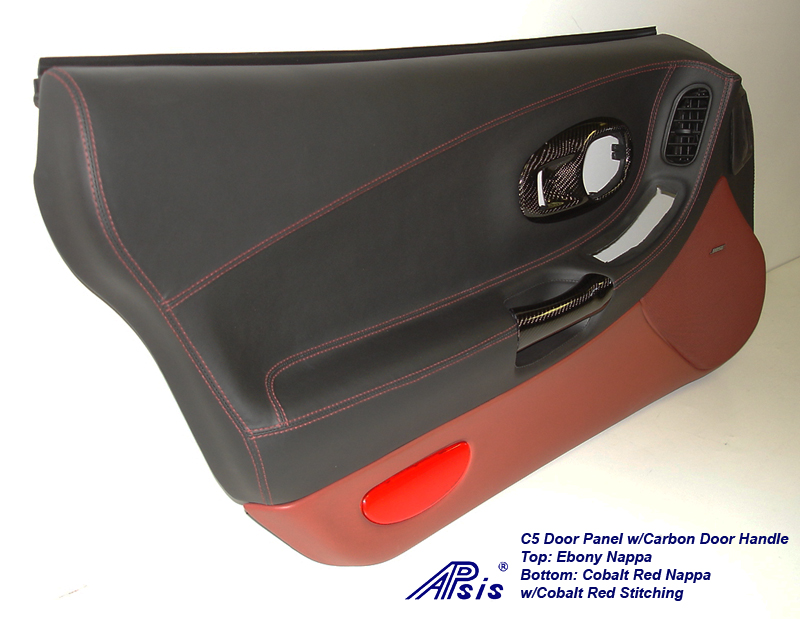 C5 Door Panel-ebony+cobalt red w-carbon door handle-driver-3