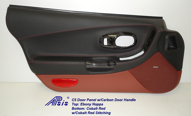 C5 Door Panel-ebony+cobalt red w-carbon door handle-driver-4