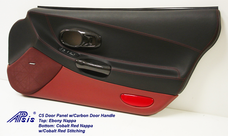 C5 Door Panel-ebony+cobalt red w-carbon door pull-pass-1