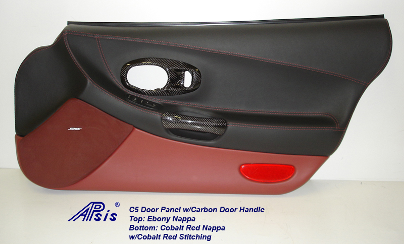 C5 Door Panel-ebony+cobalt red w-carbon door pull-pass-2